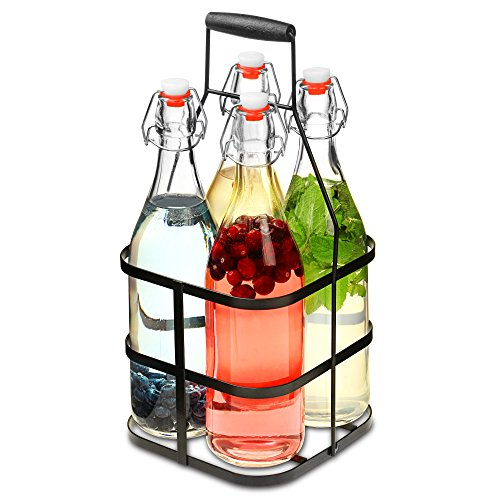 en mit Metall Caddy 1 L – Set von 4 Glas Swing Top Flaschen in Metall-Korb (Swing-top-glas-flaschen)
