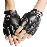 SWT Pointed Studs Black Leather Faux Fingerless Gloves Goth Biker 80'S Fancy Dress