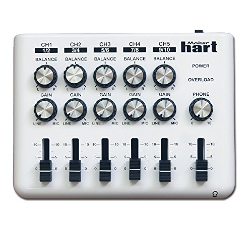 LOOP-MIXER - Miniatur Audio Mischer - Mini Mischpult - DJ Mischpult mit 5 Kanälen (5 x 3.5mm Stereo-Anschlüsse oder 10 x 6.35mm Mono) und 3 Ausgängen