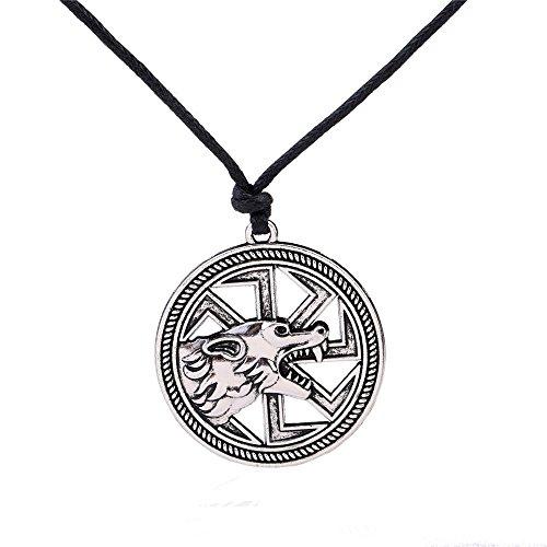 VASSAGO Collar con colgante de rueda de sol de lobo eslavo, diseño vintage de vikingo, para hombres y mujeres