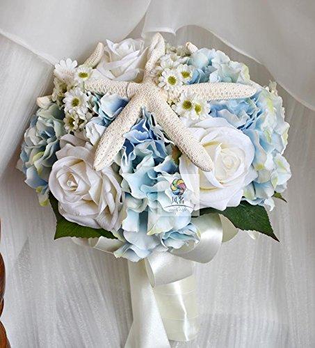 Yxhflo Hochzeit Blume Blume Jugendstil Kunst Emulation White Blue Ocean Wind Braut Händen Blumen Graue Pappteller Und Servietten