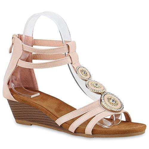 Bequeme Damen Keilsandaletten Strass Sandaletten Keilabsatz Rosa Broschen