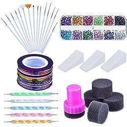 Mudder Kit de Arte de Uñas con Pinceles de Arte de Uñas, 12 Colores de Diamantes de Uñas, Pluma de Punto de 2 Extremos, Cinta de Rayas de Uñas de Colores Variados y Esponja de Uñas Gradiente