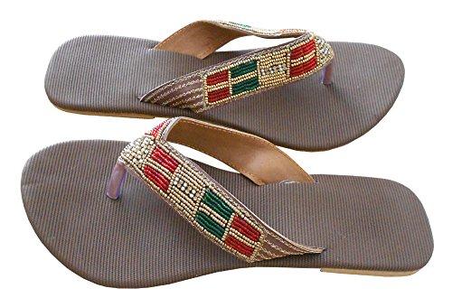kalra Creations indien traditionnel fait à la main en cuir de femmes Tongs Marron
