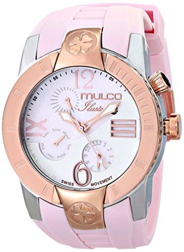 Mulco Ilusion Unisex 46mm Bracelet Silicone Rose Boitier Acier Inoxydable Quartz Montre MW51877813