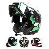 GSDZN - Motorradhelm Bluetooth Doppelte Linse Anti-Fog Anti-UV, Motorrad Helme Klapphelme,E-XL