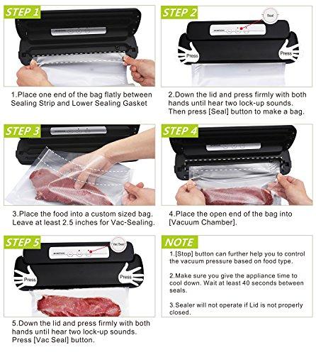 Géryon Emballage sous vide, sacs de nourriture sealer machine avec starter automatique et rouleau pour la nourriture Savers et sous vide, Noir
