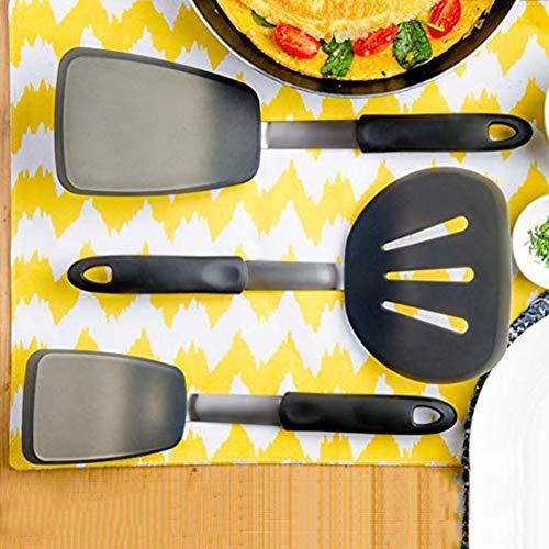 FafSgwq 3 Stücke Nicht Klebrig Silikon Turner Spatel Schaufel Spaten Küche Kochzubehör Super handliches Geschirr Schwarz