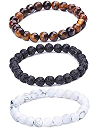 Unendlich U Cool Damen Herren Unisex Buddha Armband Armreif, 9mm Energie-Stein Kugeln Perlen Gebet Mala Stretch Energiearmband, Braun/Weiß/Schwarz(Lavastein)