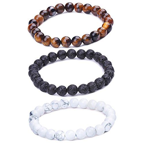 Unendlich U Cool Damen Herren Unisex Buddha Armband Armreif, 9mm Energie-Stein Kugeln Perlen Gebet Mala Stretch Energiearmband, Braun/Weiß/Schwarz(Lavastein) (Herren Armbänder)
