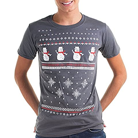 Mens Christmas Snowman T-shirt - Charcoal - Perfect alternative to the traditional Christmas Jumper (Medium