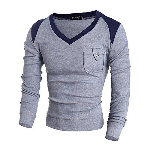 9df3697135ada8 COCO clothing Otoño Invierno Cuello Pico Sweatshirt Hombre Suéter Tops  Casual Manga Larga Camiseta Slim Sudadera Caballero Polo T-Shirt (gris