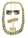 Lude Babo Macho Prolethen HipHop Rapper Sets 4 teilig Ketten Brille Ring (Kette Gettoblaster)