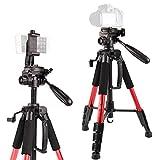 """55""""/140cm Trípode ligero con nivel de burbuja, trípode de cámara de viaje con bolsa de transporte para SLR/DSLR se adapta a Canon/Nikon/Sony/etc(Rojo)"""