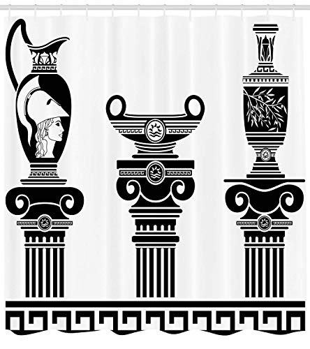 GONIESA Toga Party Shower Curtain, Hellenic Vases and Ionic Columns Artistic Design Amphora Antiquity Culture, Fabric Bathroom Decor Set with Hooks, 60 * 72inch, Black and White