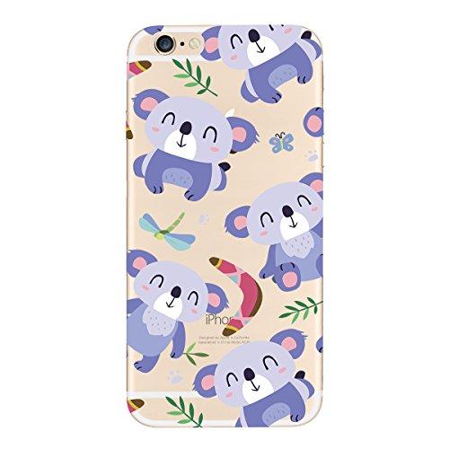 Yokata 2 x iPhone 6 / iPhone 6s Hülle Transparent Weiche Silikon Handyhülle Cute Motiv Schutzhülle für Mädchen Durchsichtig TPU Handy Tasche Schale Etui Weich Silicone Bumper Ultra Dünn Slim Schlank M Karussell + Koala