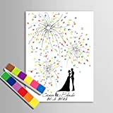 LG Hochzeit Zubehör Personalisierte Fingerabdruck Gemälde Leinwanddrucke - Unter der Feuerwerk-Hand-Zeichnung (inkl. 12 Druckfarben), Custom, 60*80cm