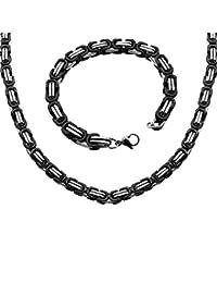 Set aus Edelstahlkette und Armband schwarz silbern Edelstahl Königskette Panzerkette Stärke 5mm