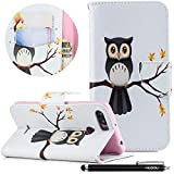 HUDDU Compatible for Xiaomi Redmi 6 Handyhülle Hülle Schutzhülle Weiß Tasche PU Leder Wallet Case mit Ständer Funktion Kartenfach Magnetisch Extra Dünn Brieftasche Flip Cover - Eule auf dem Baum
