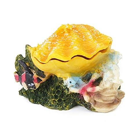 Aquarium Ornament Fish Tank Decoration Resin Rock Bubbling Shell (Yellow)