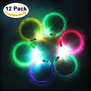 JTDEAL 12PCS Light Bracelets LED Flashing Light Bracelet Colorful Led Acrylic Bracelets Light for Hallowen Christmas and Birthday Party
