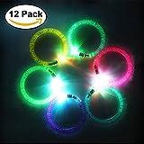 JTDEAL 12Pcs LED Bracelets Coloré Bracelets Lumière Clignotant LED Bracelets en Acrylique à Piles pour Anniversaire, Concert, Fête, Hallowen, Noël