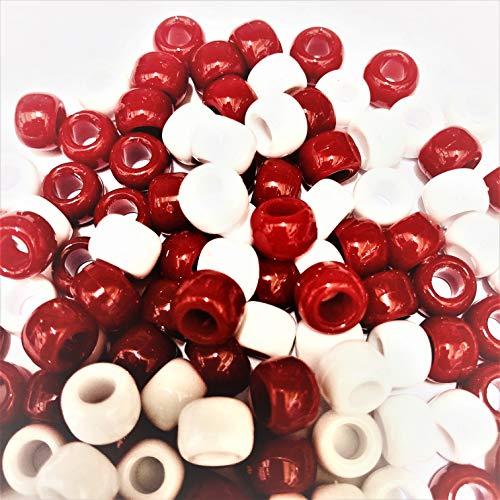 Pony 100 Stück, 9 mm x 6 mm, Weiß / Rot-Armband geflochten Loom Gummiringe Dummy Clips, Farbe des Schaftes: Kunststoff, Acryl, rund, Schmuck-, Perlen und Charms -