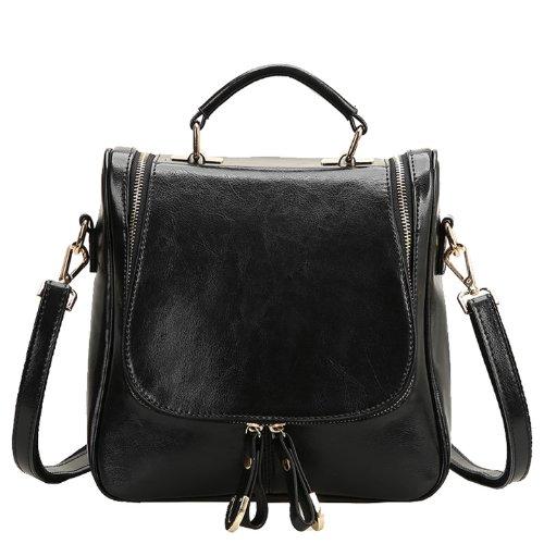 Dissa Q0424 Damen Leder Handtaschen Top Handle Satchel Tote Taschen Schultertaschen Schwarz
