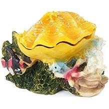 UEETEK Ornamento de concha burbujeante colorido para tanque de peces de acuario (amarillo)