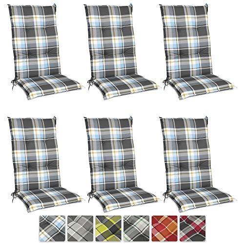 Beautissu 6er Set Sunny BK Hochlehner Auflagen Set für Gartenstühle 120x50 cm in Blau Kariert - Bequeme Gartenstuhl Stuhlkissen Polsterauflagen UV-Lichtecht