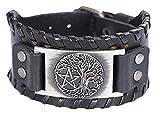 fishhook Amo Norse Viking albero della vita albero del mondo pentagramma amuleto braccialetto bracciale in pelle e Lega, colore: Antique Silver,black