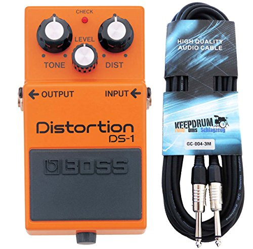 Boss DS-1 Distortion Pedal + keepdrum Gitarrenkabel 3m
