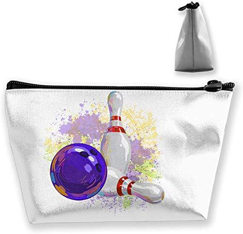 Trapez Kulturbeutel Tragbare Reisetasche Bowling Painting Makeup Bag