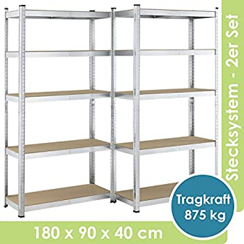 175kg Steckregal Kellerregal Lagerregal Regal Schwerlastregal 2 x 1800x900x400