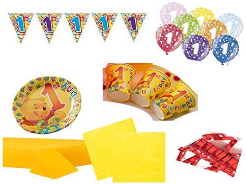 XXL Party Deko Set 1.Geburtstag Winnie Pooh Kindergeburtstag für 20 Personen 70 teilig Mädchen Junge Party Geschirr (Winnie The Pooh Geburtstag Party)