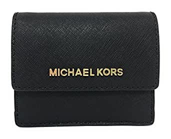 64b37316e6a2c9 Michael Kors Jet Travel Leather Credit Card Case ID Wallet with Key Ring  (Black)