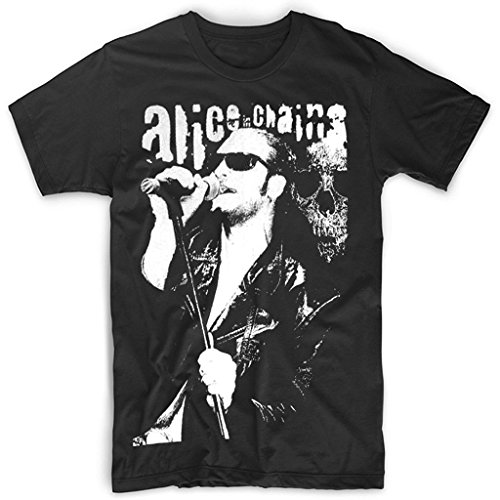 Sixtion men's Layne Staley Sing Alice In Chains T-shirt Black X-Large