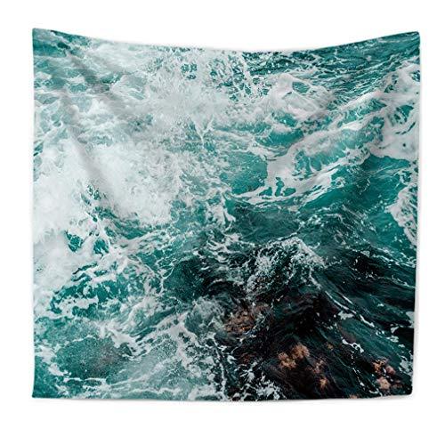 Lihan Tapicería Tapiz Serie oceanica Oceano Indian Bohemio Elefante Hippie Mandala Pared Estampado Floral Decoración Naturaleza Picnic diseño psicodélico, Mar 150 * 130cm/59 * 51inch