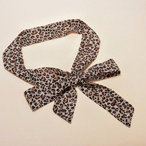 ZHANGYONG Cinta de Seda de señora con Vestido, Pajarita, cinturón Ancho, Bufanda Decorativa, Cierre de Cintura. Estampado de Leopardo