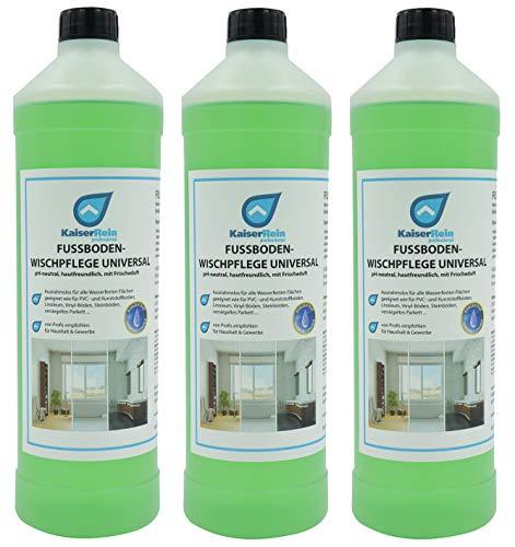 KaiserRein Glanzreiniger Konzentrat Bodenreiniger Profi Fußbodenreiniger Wischpflege 3 x 1 L 3 Liter (Fliesen Boden-reinigungsmittel)