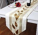 De battar Vintage Natural rectángulo Camino de mesa sencilla moderna floral mesa bandera para Boda rústico Bridal Shower Festival Fiesta de Event, jacquard hojas, 33* 200cm, color blanco