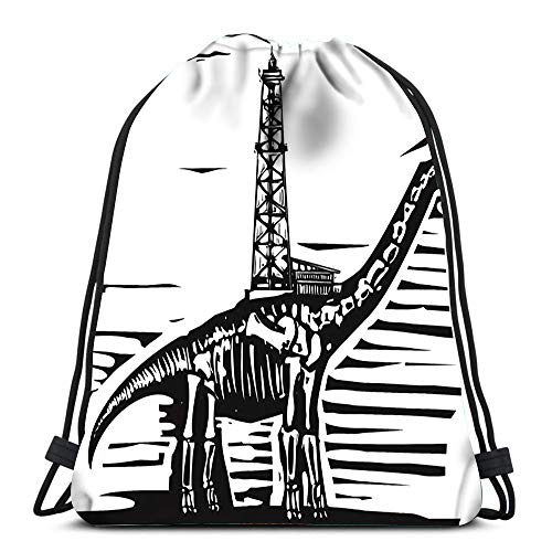 Kkyoxdiy Drawstring Bags Woodcut Style of Fossil Brontosaurus Apatosaurus Dinosaur with An Oil Well On Its Back Soft Polyester Gym Backpack