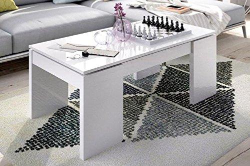 Table basse à plateau relevable coloris blanc brillant avec 4 pieds - Dim : 43 x 100x 50 cm.-PEGANE