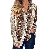 IZHH Damenmode Shirt, Langarmshirts Langarm Tunika Serpentine Print Button Umlegekragen Bluse TäGliche BüRo Party Shirt Sommer Outdoor Wear (Braun,S)