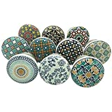 APEX OUTLET ™ Ceramic Drawer knobs for Dresser Wardrobe Cabinet cupboards Door knobs for Drawers Handle Children Drawer Pull Hand Painted Standard Size Multi Color Pack of 10