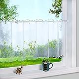 1er Pack Stickblume Voile Scheibengardine kleine Kaffee Vorhang BxH 90x45cm Grün