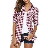 QinMM Camisa de Cuadros de otoño para Mujer, botón Blusa de Moda Casual...