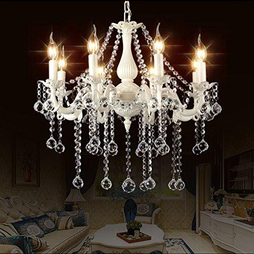 Lustre Lampe de bougie en cristal chandelier idyllique coréen chambre princesse européenne rose douce lampe de la salle de mariage Éclairage décoratifA+ ( taille : 8 -head )