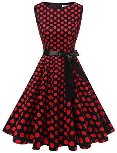 Gardenwed Damen 1950er Vintage Cocktailkleid Rockabilly Retro Schwingen Kleid Faltenrock Black Red...