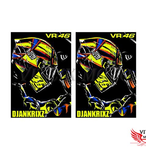 VITCIK Decalcomanie adesive per casco da moto per moto da corsa decalcomanie in vinile con logo (VR 46)